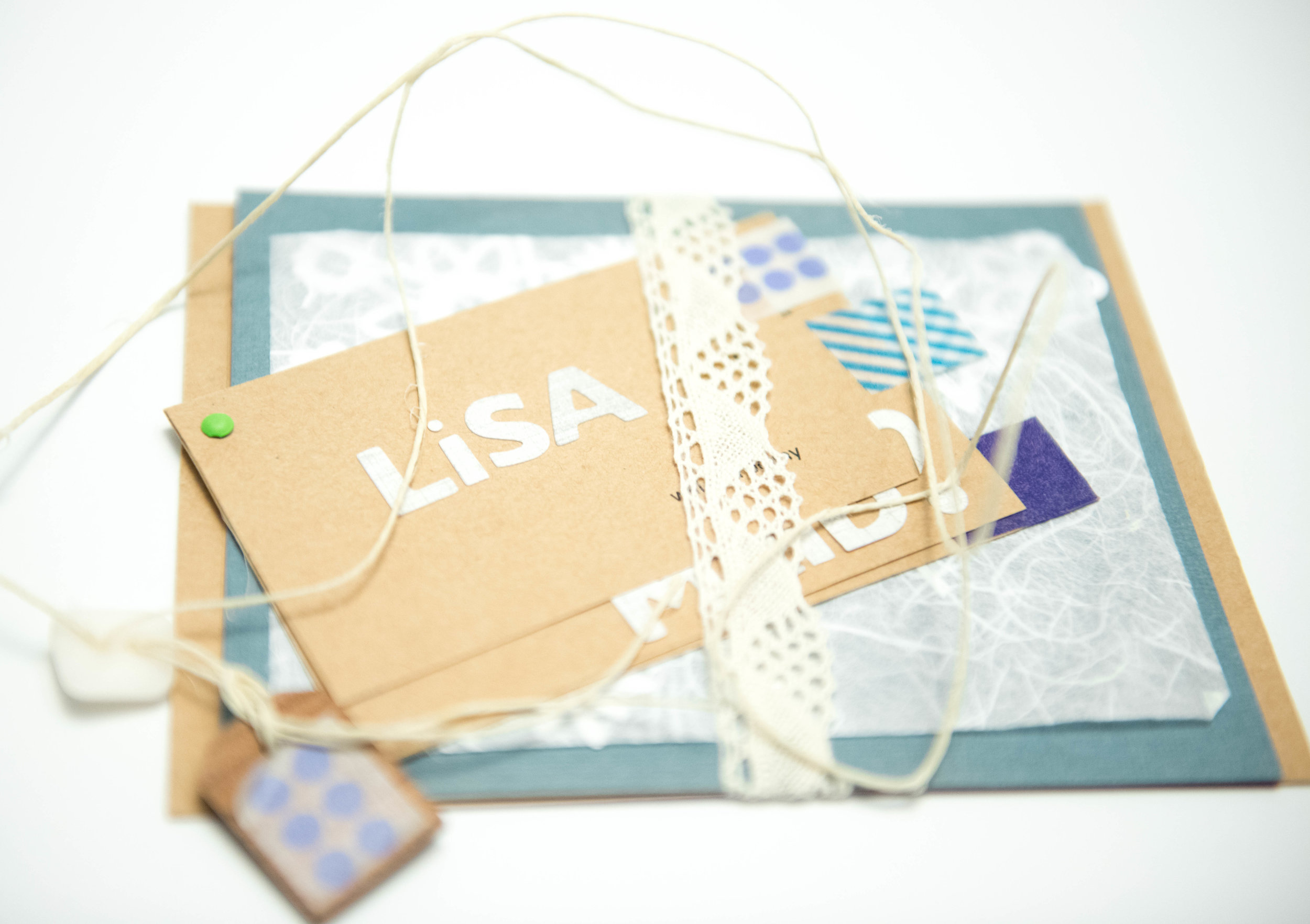 Personalized handcrafted bridesmaid proposal invitation made with card stock, twine, washi take and lace - www.lisavillellaphotography.com