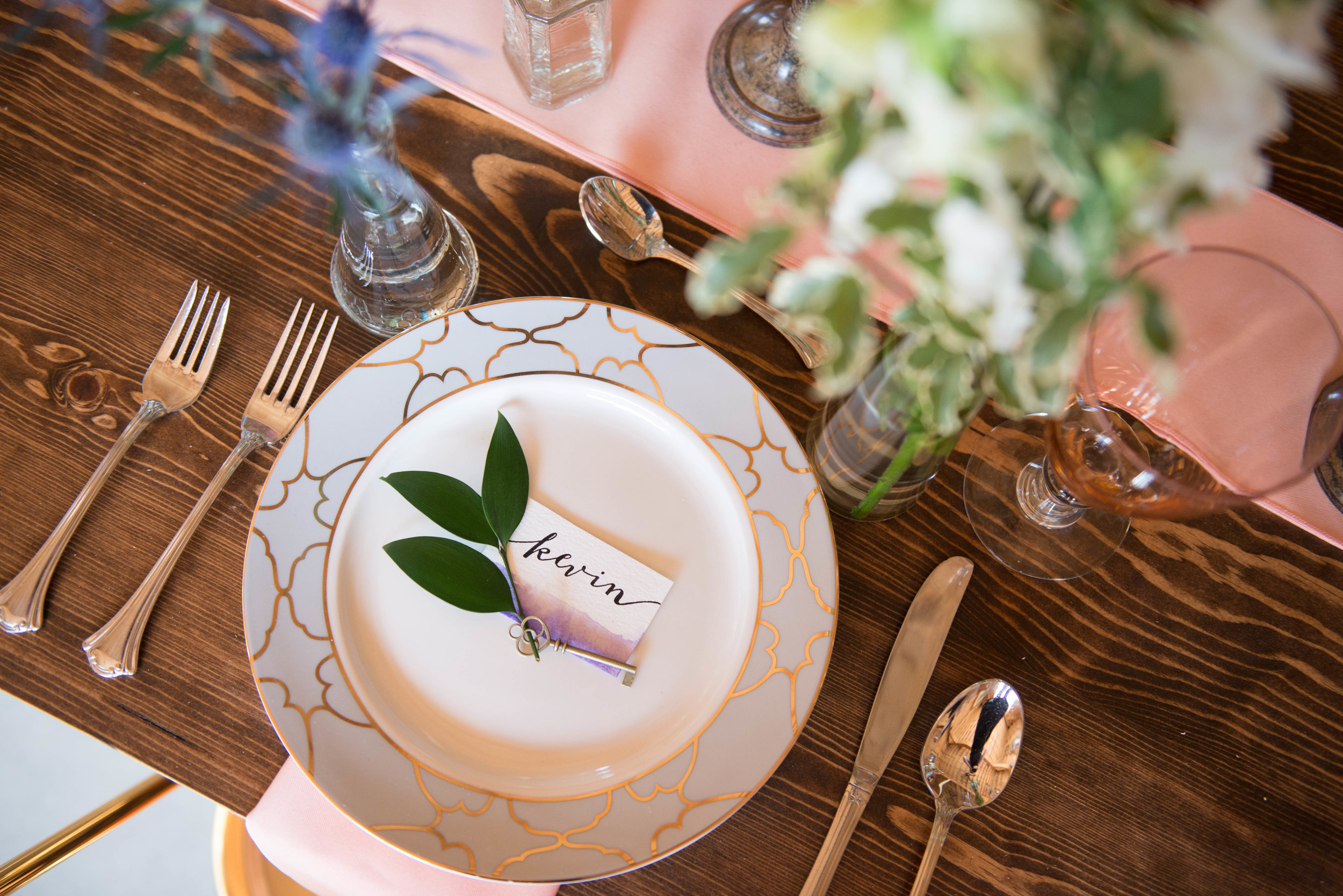 This beautiful place setting was designed by Pineapple Union and the calligraphy was done by Voyage Lettering - www.lisavillellaphotography.com