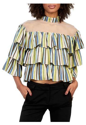 Stripe layered ruffle high-neck top