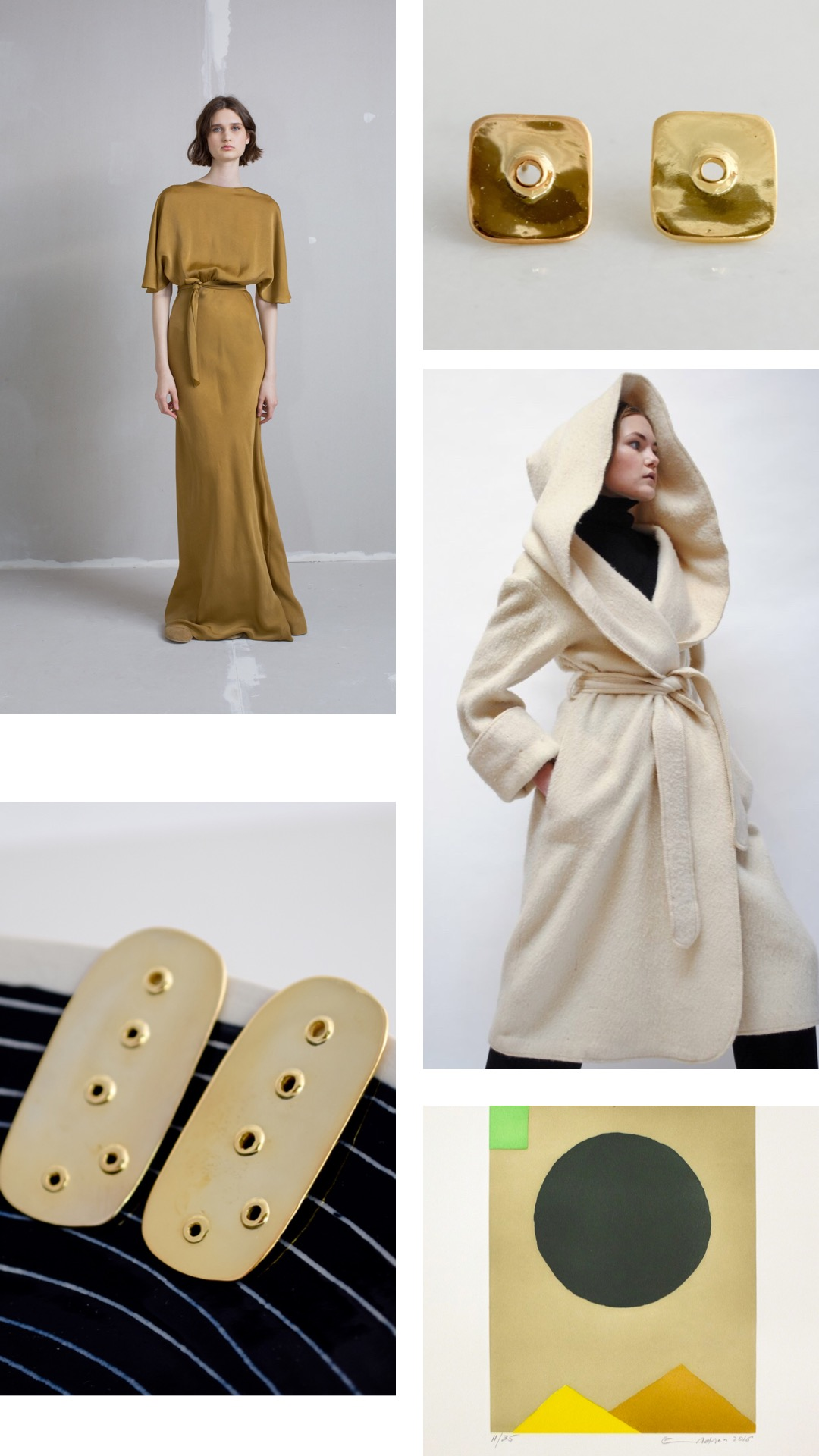 Stunning  Cortana  Mora golden cupro Evening Dress, matching VUOTO STUDS in 14k, Vintage Alpaca Hooded Coat, Circa 1940s from  Desert Vintage . VUOTO EARRINGS LARGE in 14k and an artwork from  Etel Adnan