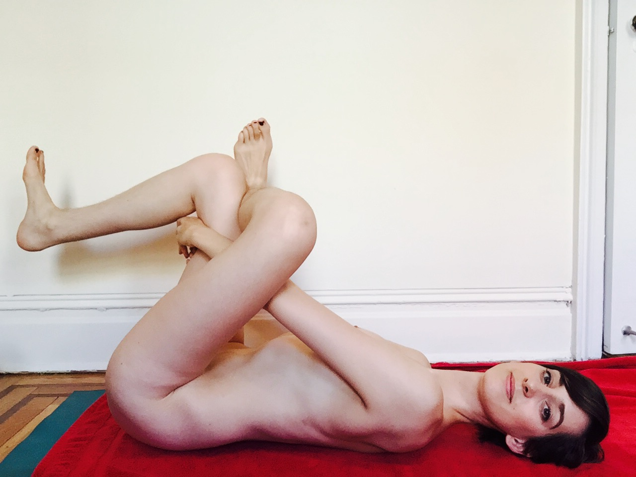Eye of the Needle Pose,Sucirandhrasana, helps me stretch out my outer hips.