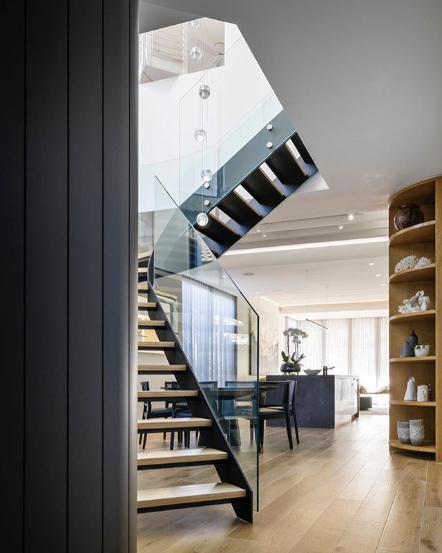Repost of the beautiful sculptural steel staircase at our Bondi beach house. The triangular shaped double height void and courtyard floods the heart of the home with daylight.