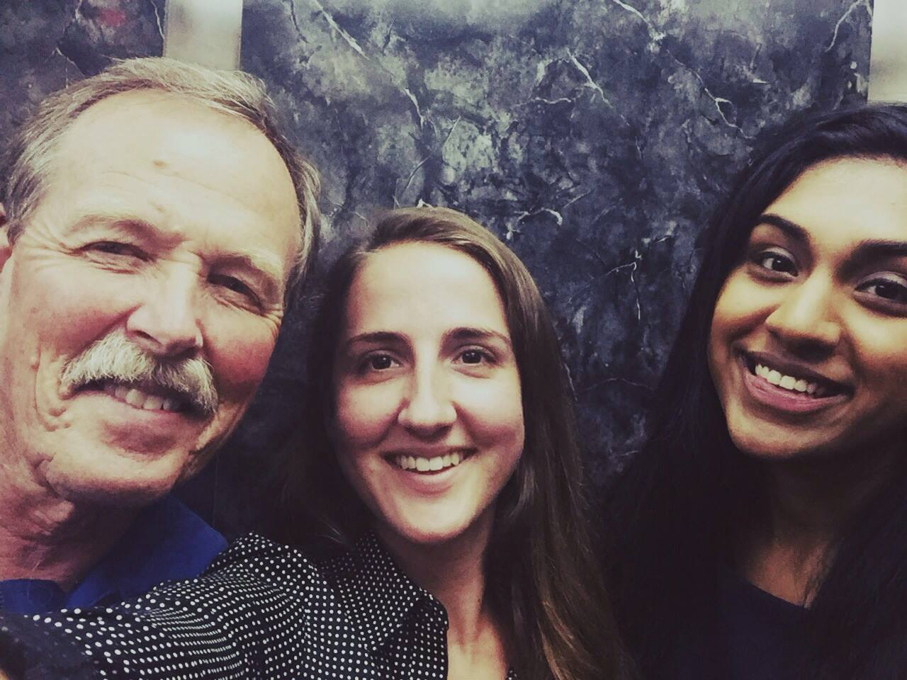 "Amanda, my officemate, and I with Astronaut ""Hoot"" Gibson."