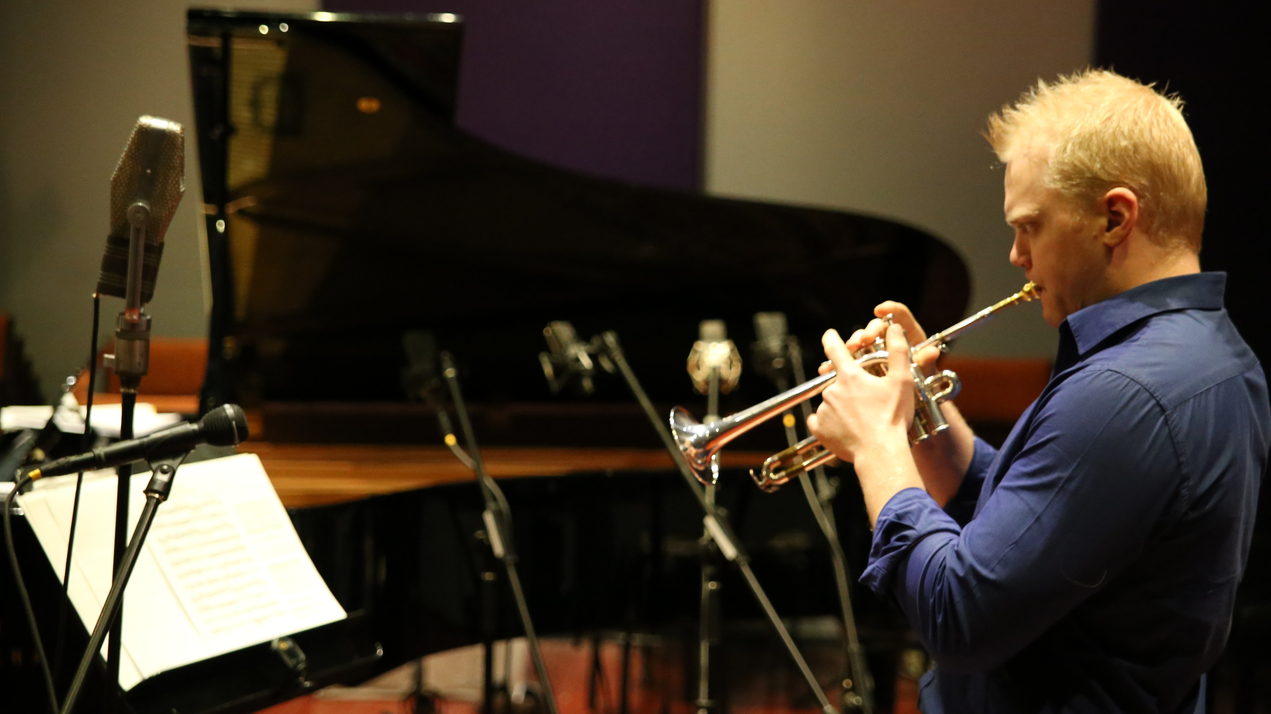 Trumpeter Phill O'Neill recording his first album The Operatic Trumpet