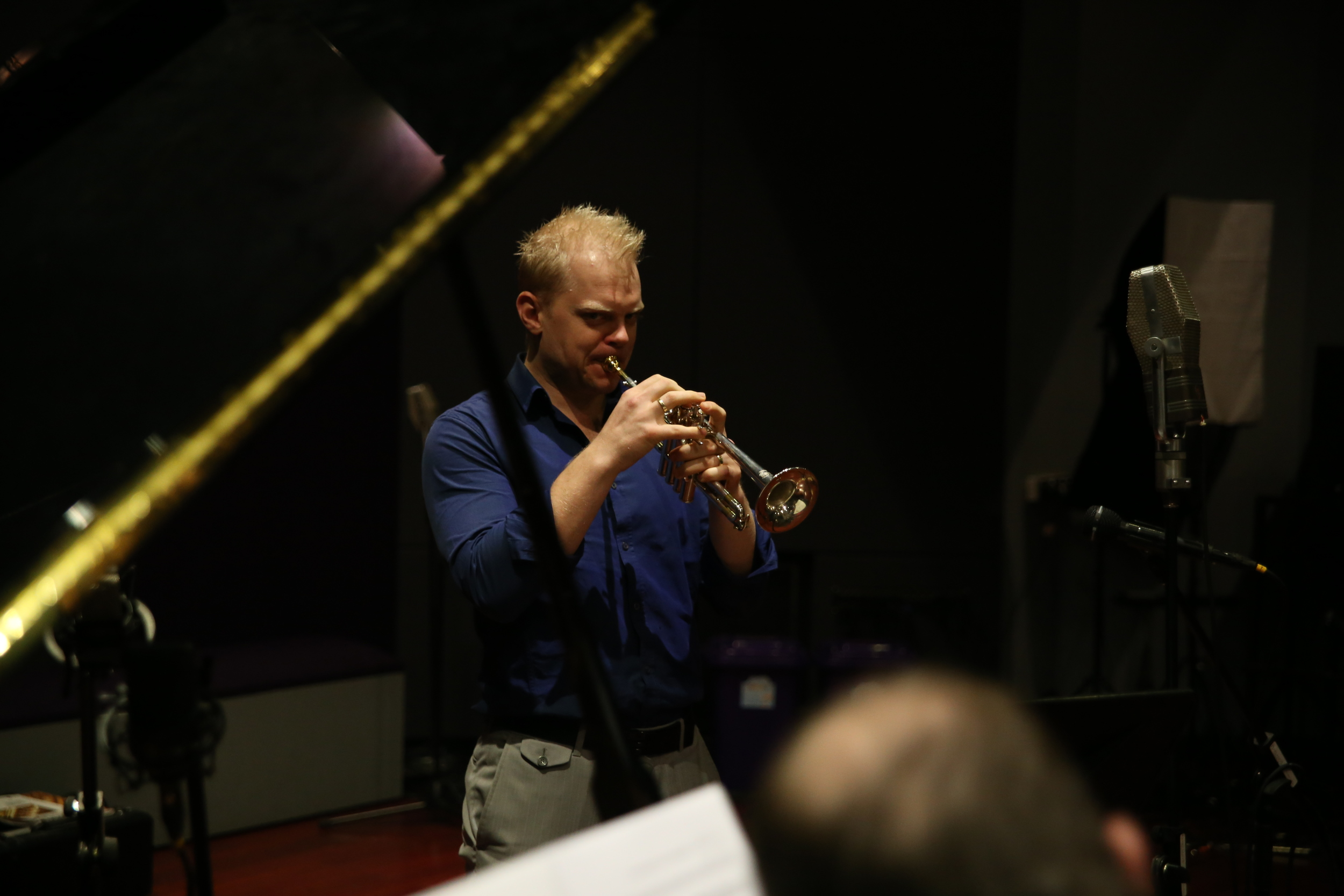 Trumpeter Phill O'Neill recording The Operatic Trumpet