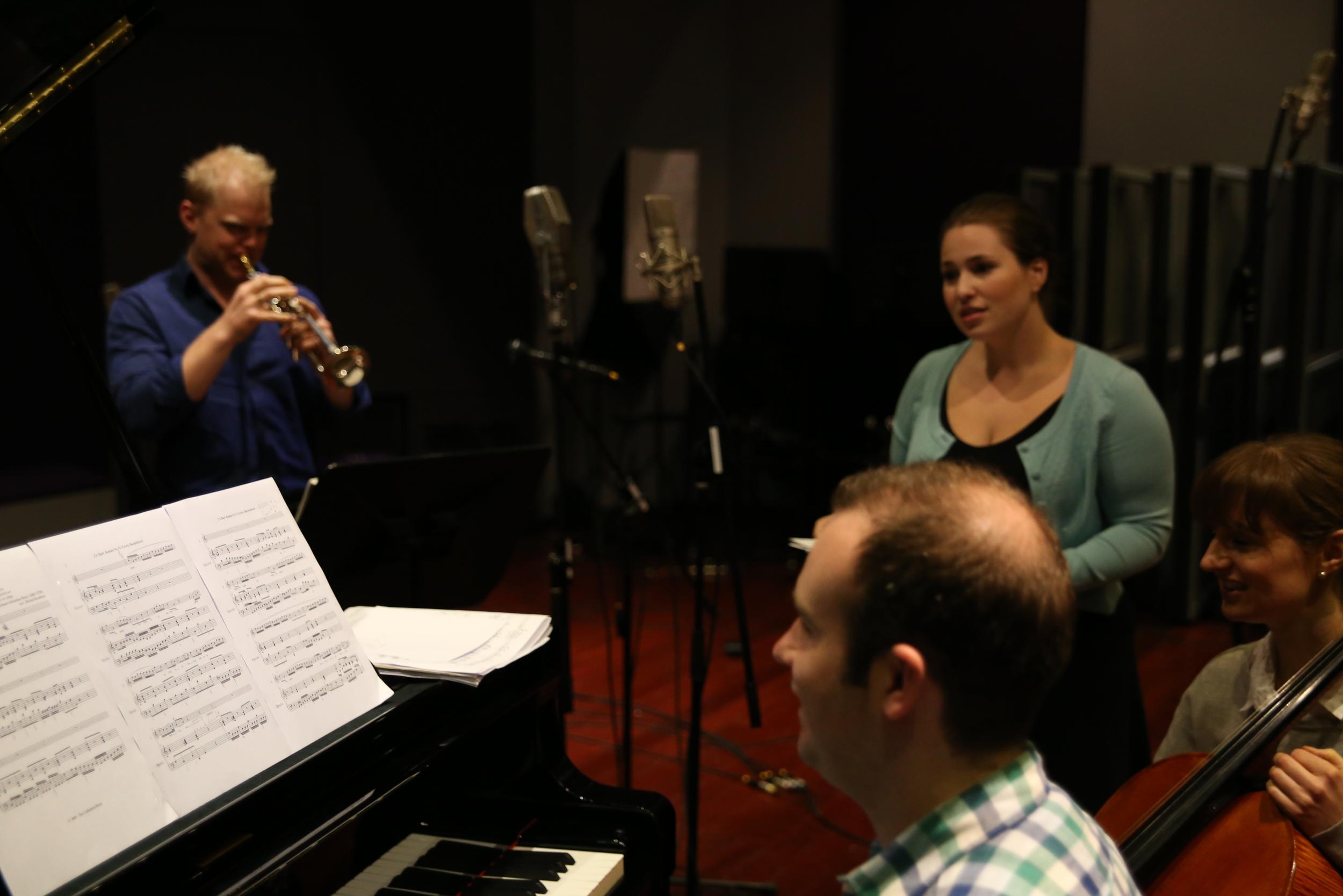 Phill O'Neill recording The Operatic Trumpet