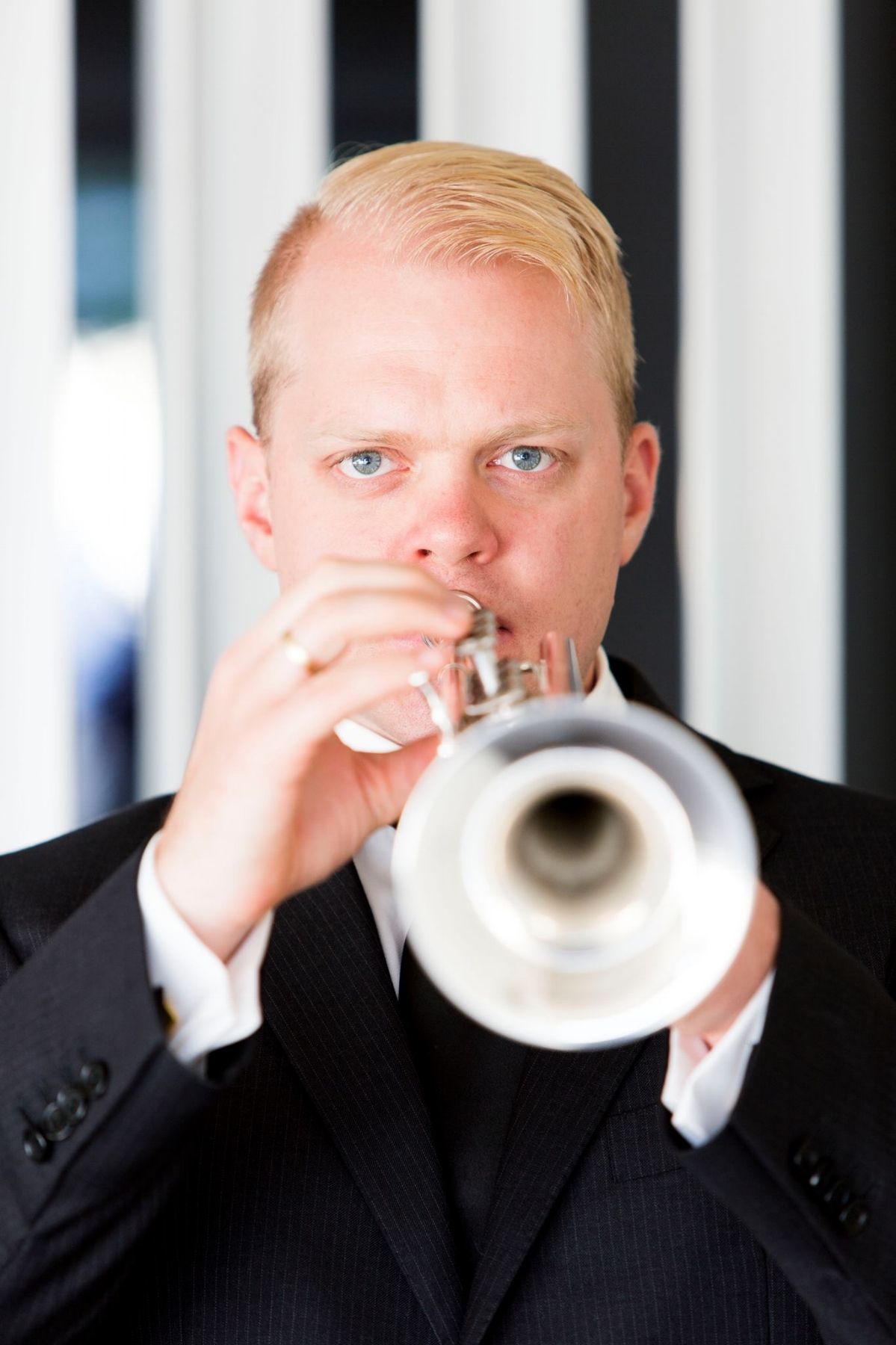 Trumpeter Phill O'Neill with his Stomvi Titan Trumpet