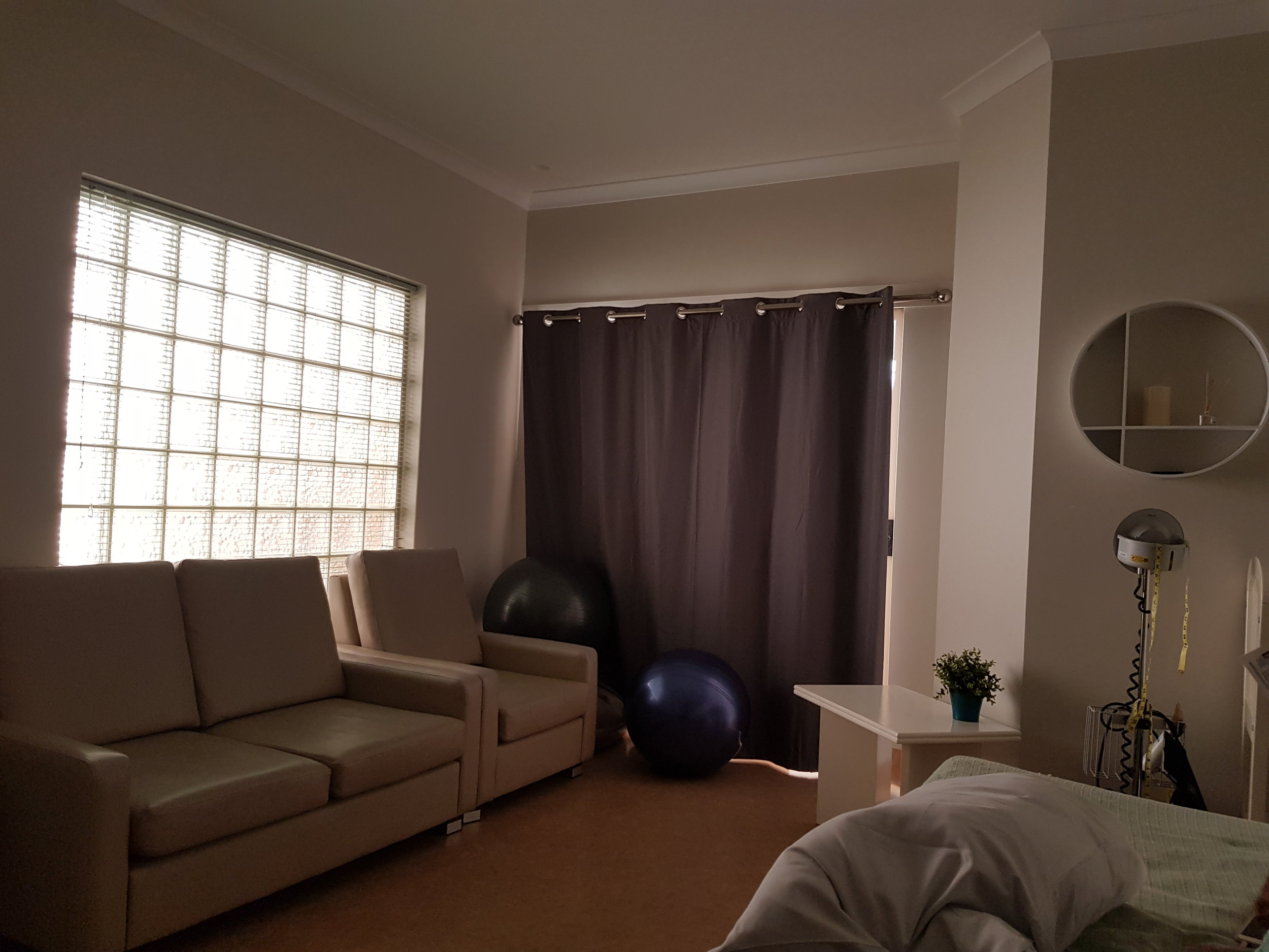 The beautiful homely room at the Family Birth Centre at King Edward Memorial Hospital. You can't see it from this photo but there is a cute little private courtyard behind the curtains through a sliding door.