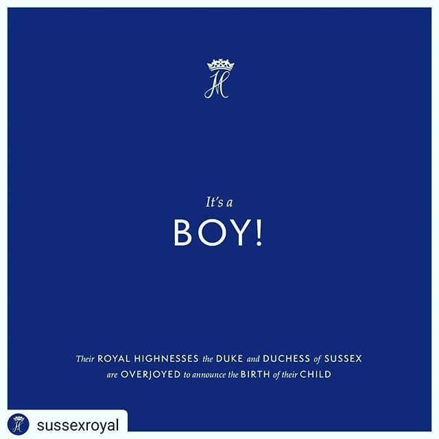 Congratulations!!@@@ Its a boy ♡  #Repost @sussexroyal • • • • • We are pleased to announce that Their Royal Highnesses The Duke and Duchess of Sussex welcomed their firstborn child in the early morning on May 6th, 2019. Their Royal Highnesses' son weighs 7lbs. 3oz.  The Duchess and baby are both healthy and well, and the couple thank members of the public for their shared excitement and support during this very special time in their lives.  More details will be shared in the forthcoming days. #moderndoula