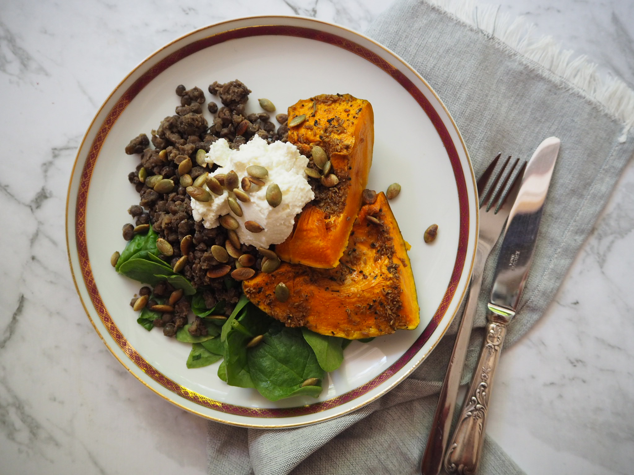 spiced pumpkin and lentils