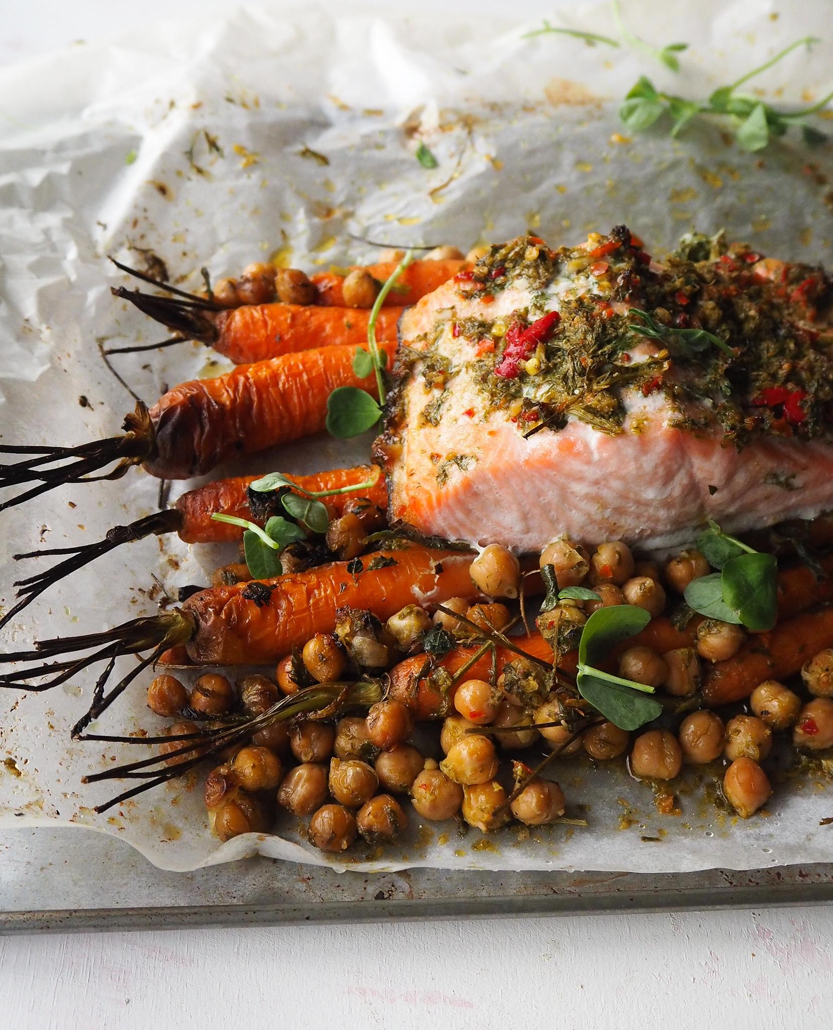 carrot top chimchurri salmon and chickpeas