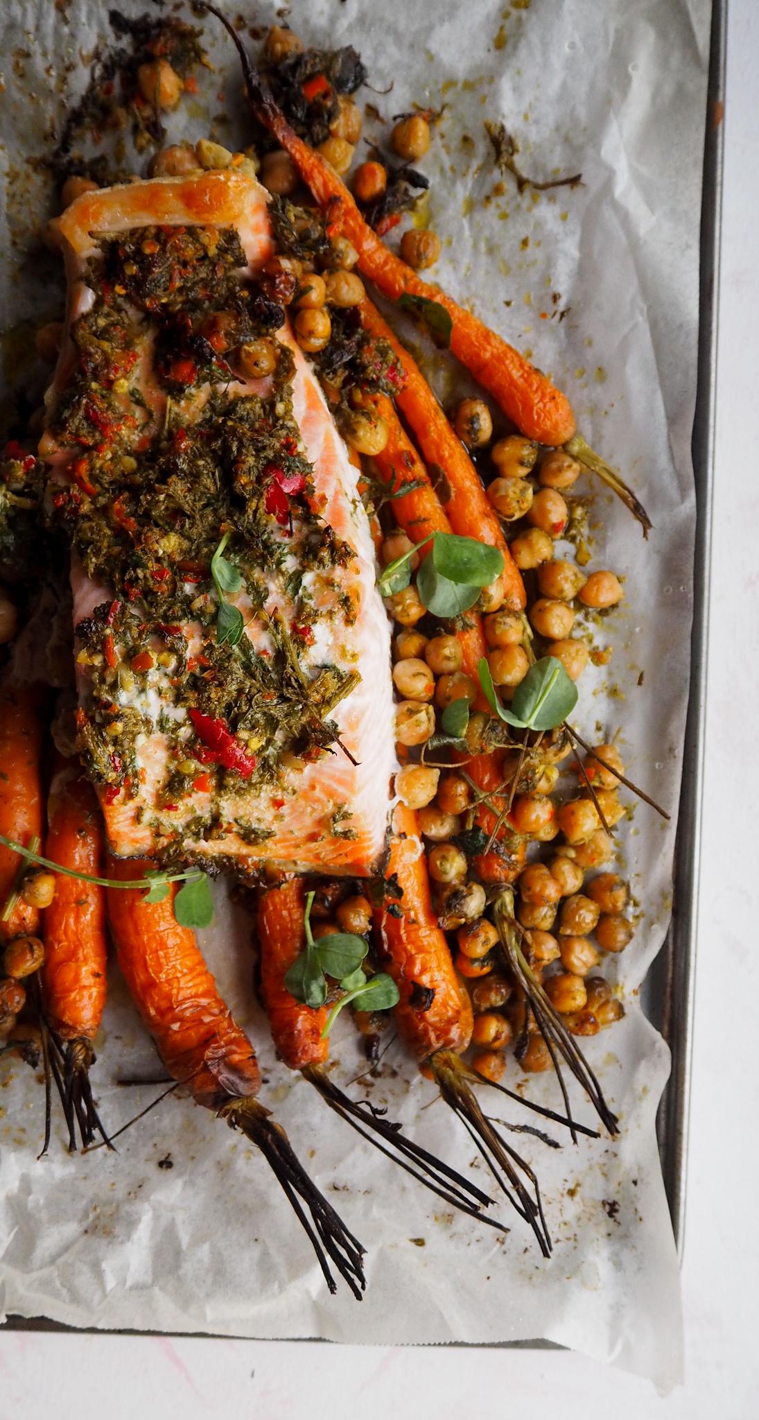 salmon chickpeas carrot top chimchurri