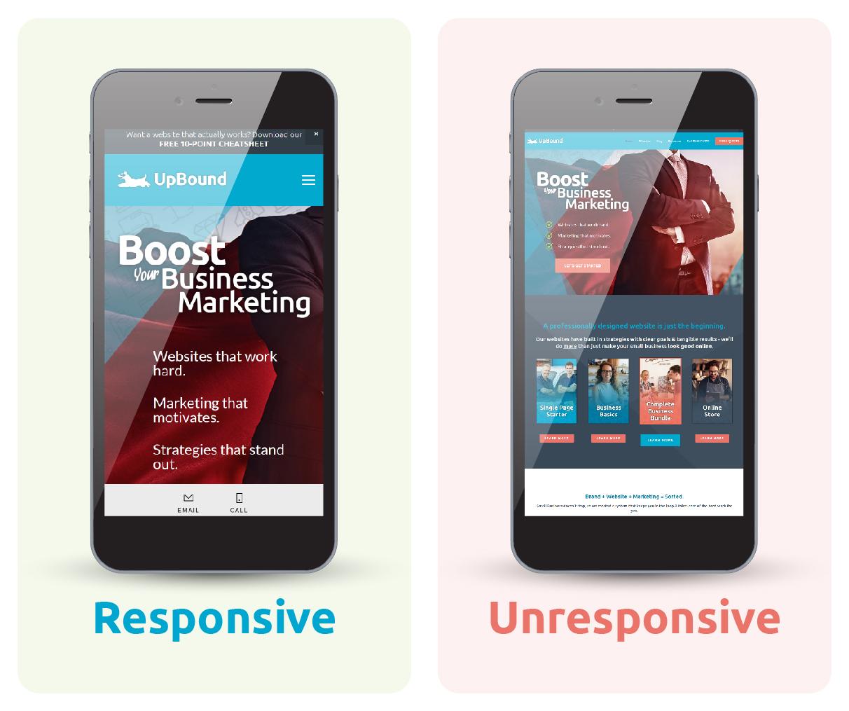 A responsive website and a non responsive website | UpBound Website Design & Digital Marketing