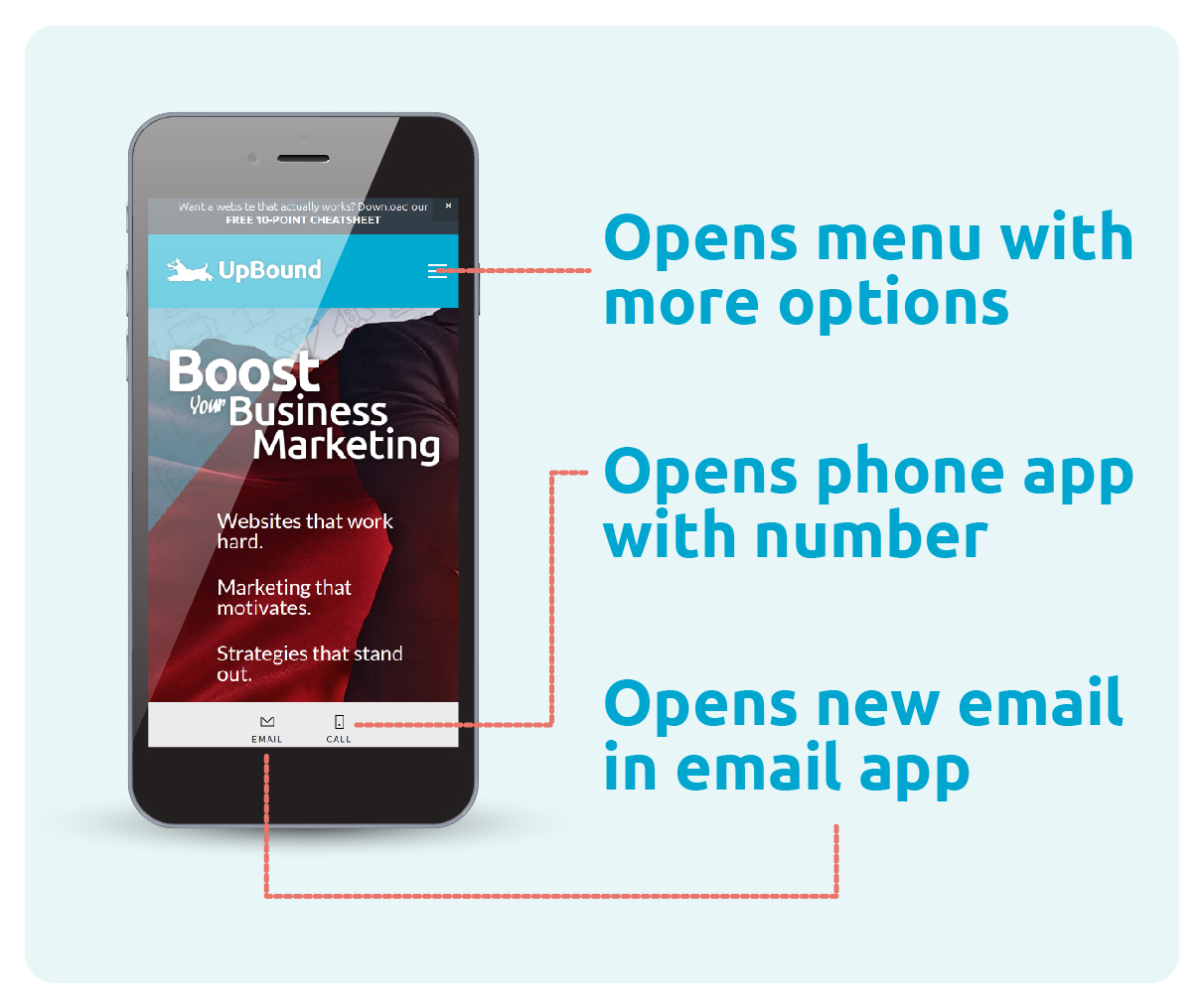 The UpBound website is a great example of how a mobile site can make it easy for a small business to connect with customers. | UpBound Website Design & Digital Marketing