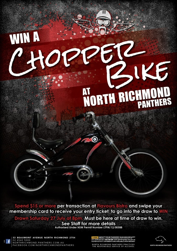 Close up of Win a chopper bike promtional point of sale POS Kit artwork graphic design for North Richmond Panthers.