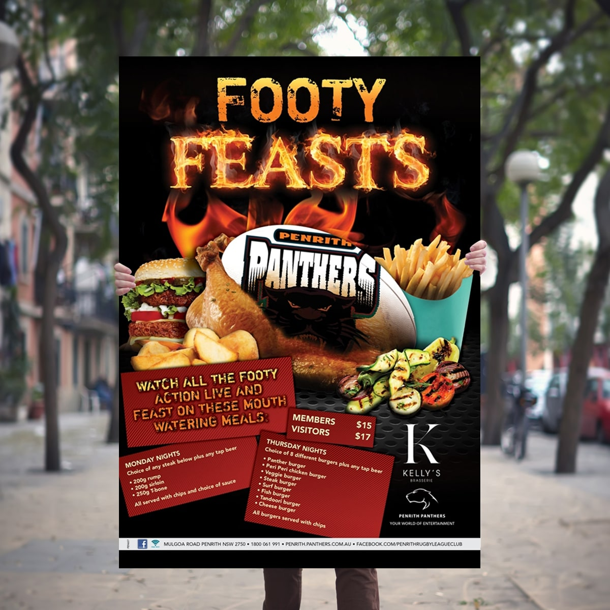 Footy feasts promtional point of sale POS Kit artwork graphic design for Penrith Panthers.