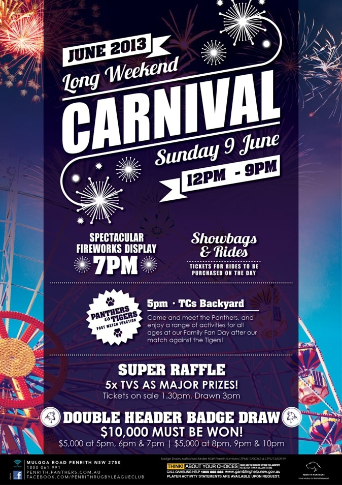 Close up of June Long Weekend Carnival promtional point of sale POS Kit artwork graphic design for Penrith Panthers.