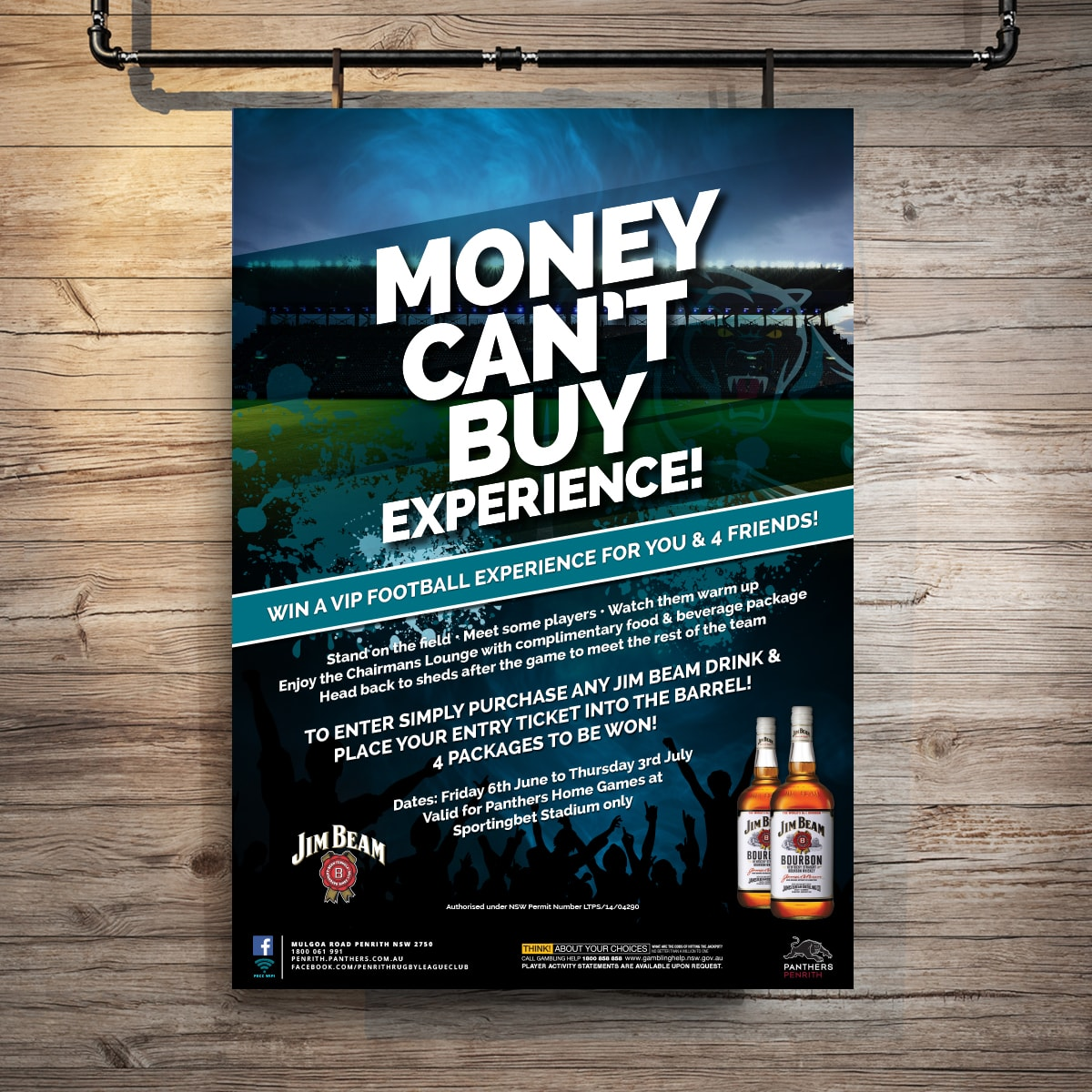 Money Can't Buy promtional point of sale POS Kit artwork graphic design for Penrith Panthers.