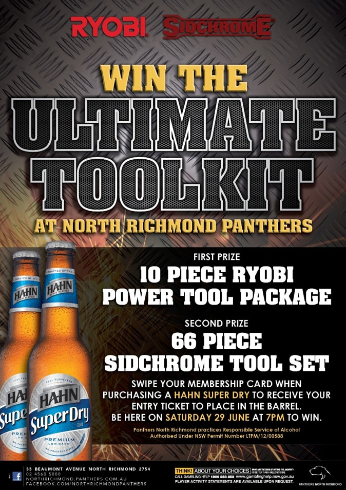 Close up of the Win the Ultimate Toolkit promtional point of sale POS Kit artwork graphic design for North Richmond Panthers.