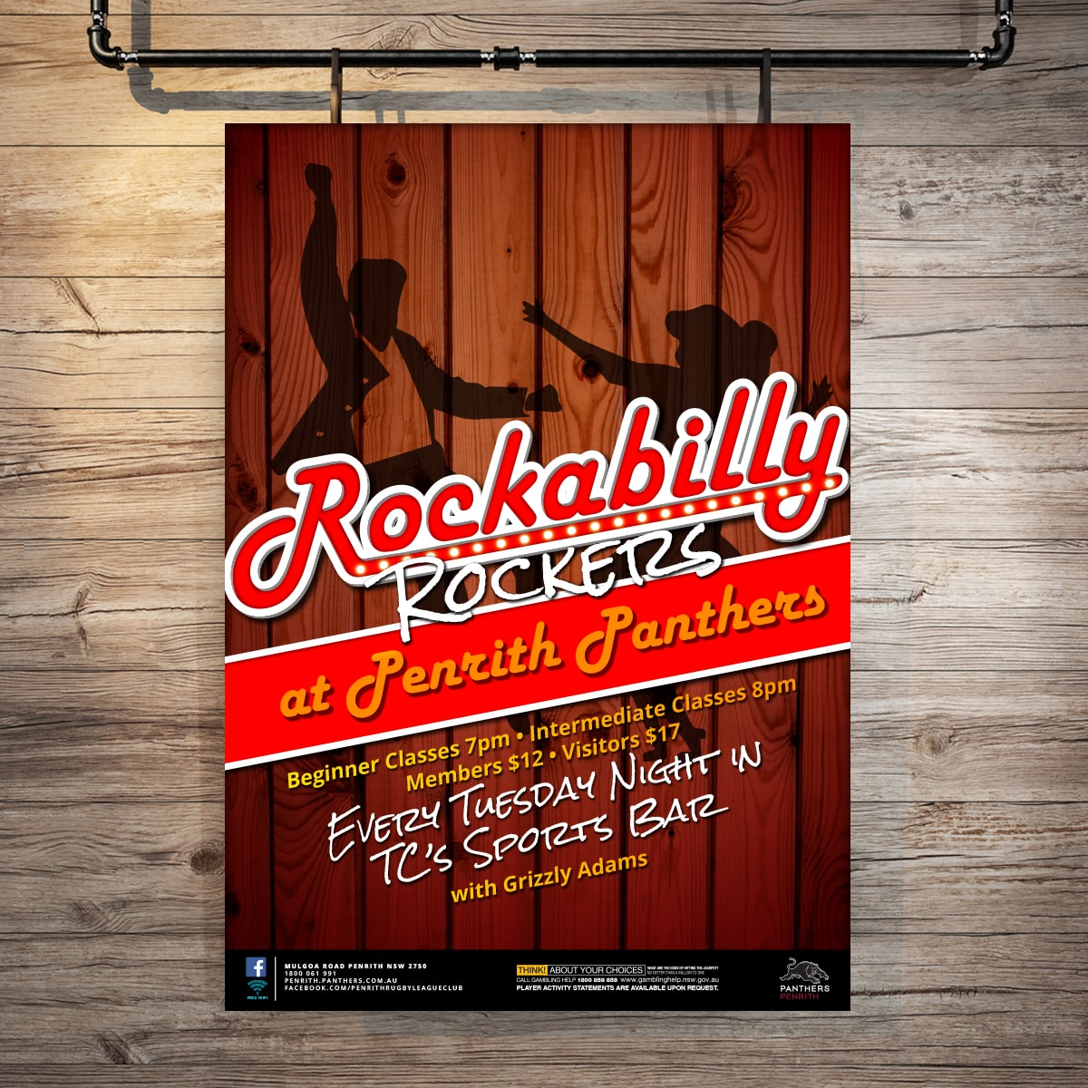Rockabilly promotional point of sale POS Kit artwork graphic design for Penrith Panthers.