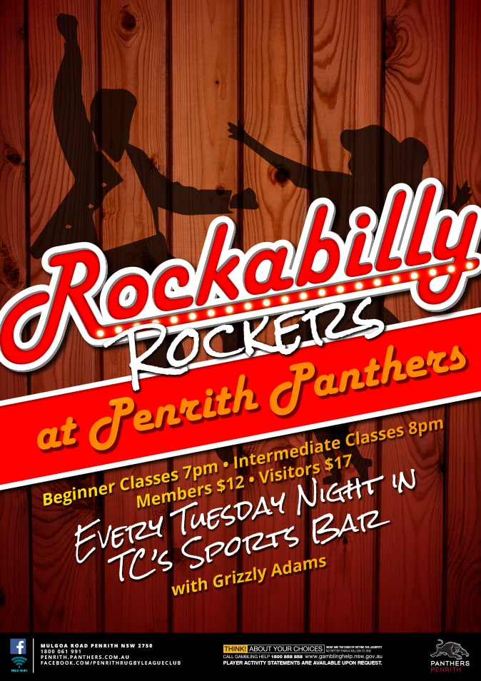 Close up of the Rockabilly promotional point of sale POS Kit artwork graphic design for Penrith Panthers.