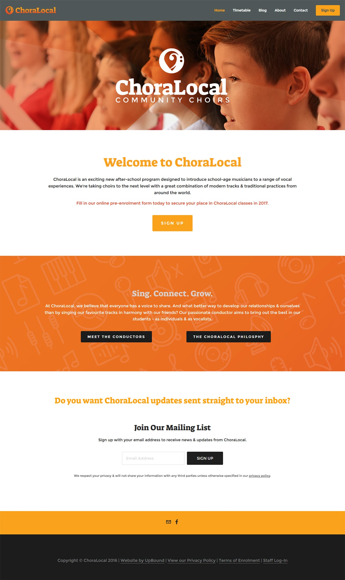 The ChoraLocal Homepage - a sample of the website design.