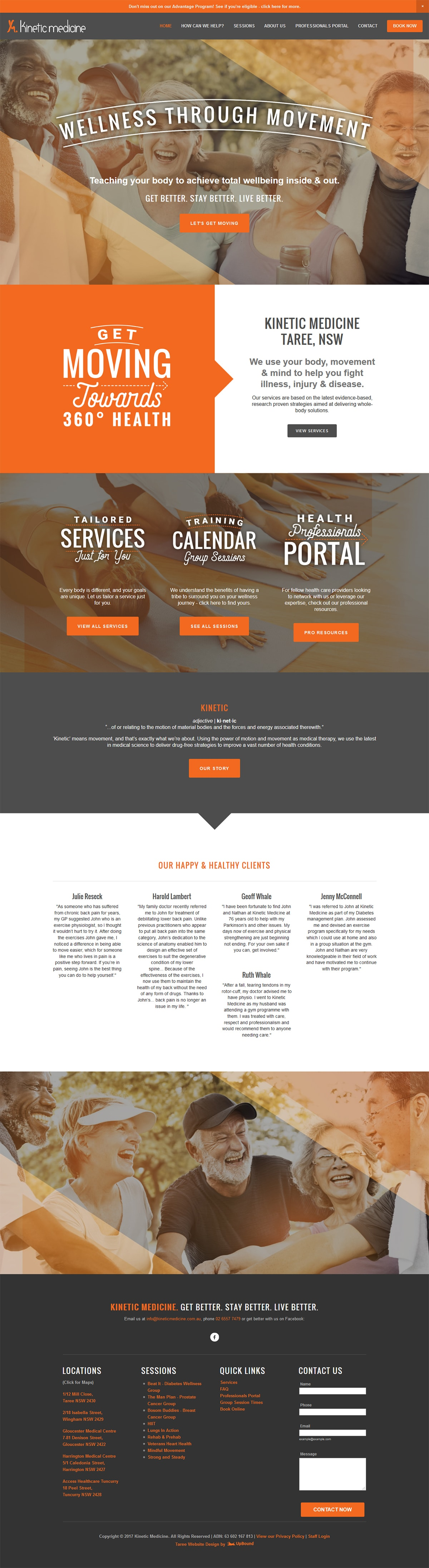 The Kinetic Medicine Homepage - a sample of the website design.