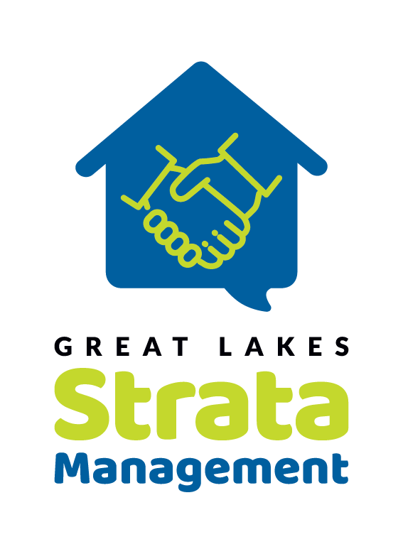 Great Lakes Strata Management's final logo design (stacked version)
