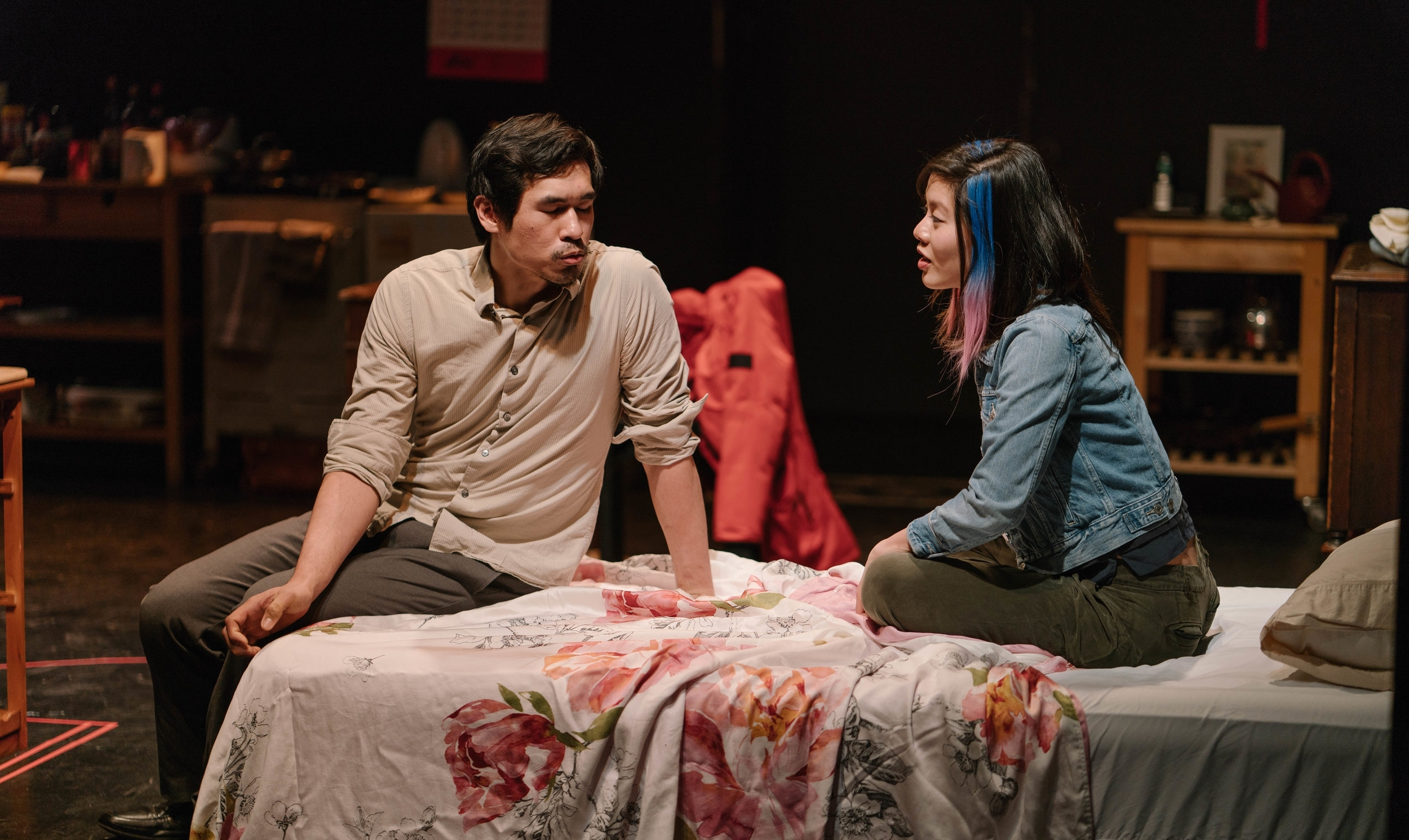 Al Patrick Jo as Tang Meng/Dan and Stefani Kuo as Abby. Photo by Elvin Hu.