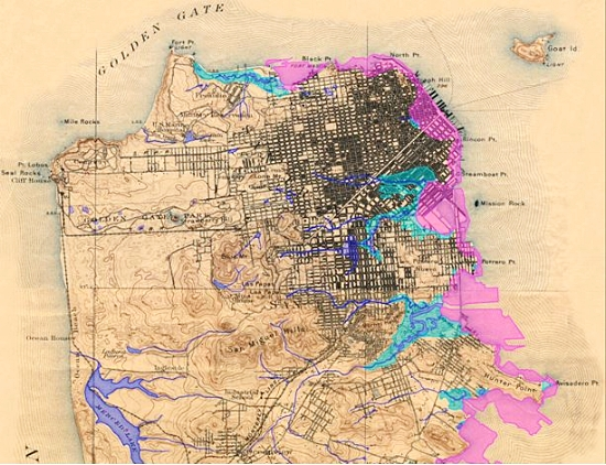 Map of San Francisco from website of the Oakland Museum. Legend: Blue: creeks & streams; Aqua-green: marshes; Pink: modern landfill