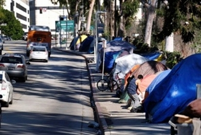 A homeless camp in California.  Will there ever be housing for all?