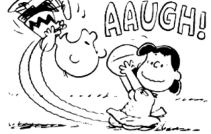 """Indomitable Lucy of Charles Schulz Peanuts fame seems to be saying, """"Sorry, the rules changed again."""""""