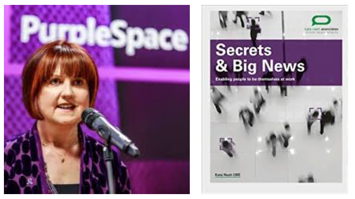 Left—Kate Nash OBE presenting at a PurpleSpace event. Right—Front cover of the book Secrets & Big News by Kate Nash OBE