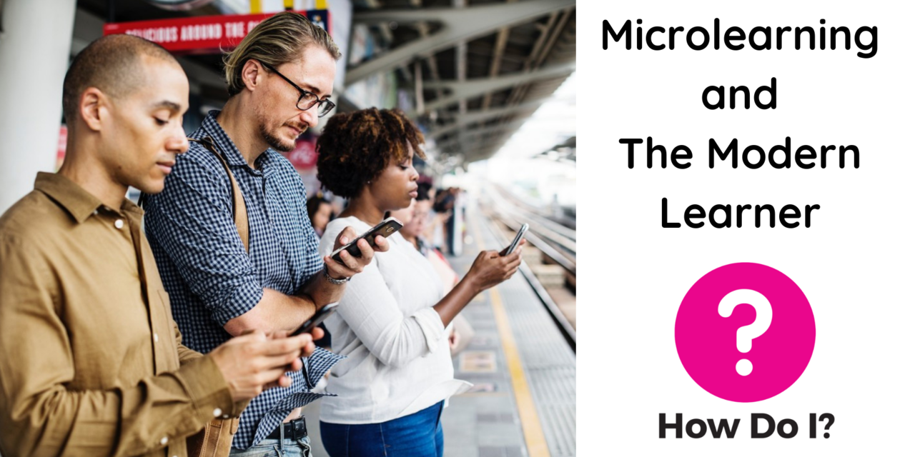 Microlearning and The Modern Learner - 3 people are checking their mobile devices on a train platform while waiting for the next carriage