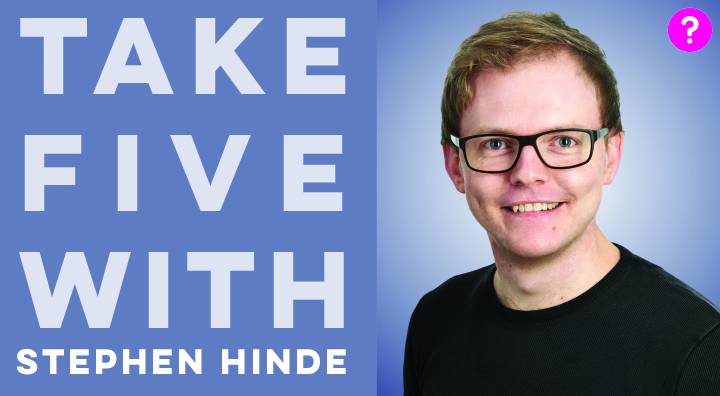 Take Five With Stephen Hinde - pictured is a closeup of Steve smiling into the camera