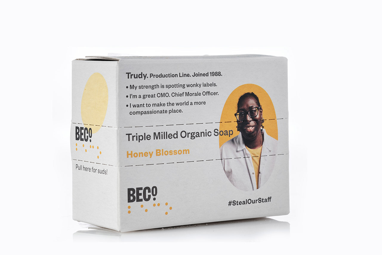 A picture of BECO's #StealOurStaff soap, their colleague Trudy is pictured on the left side of the box while on the right side is information about her role and her strengths.