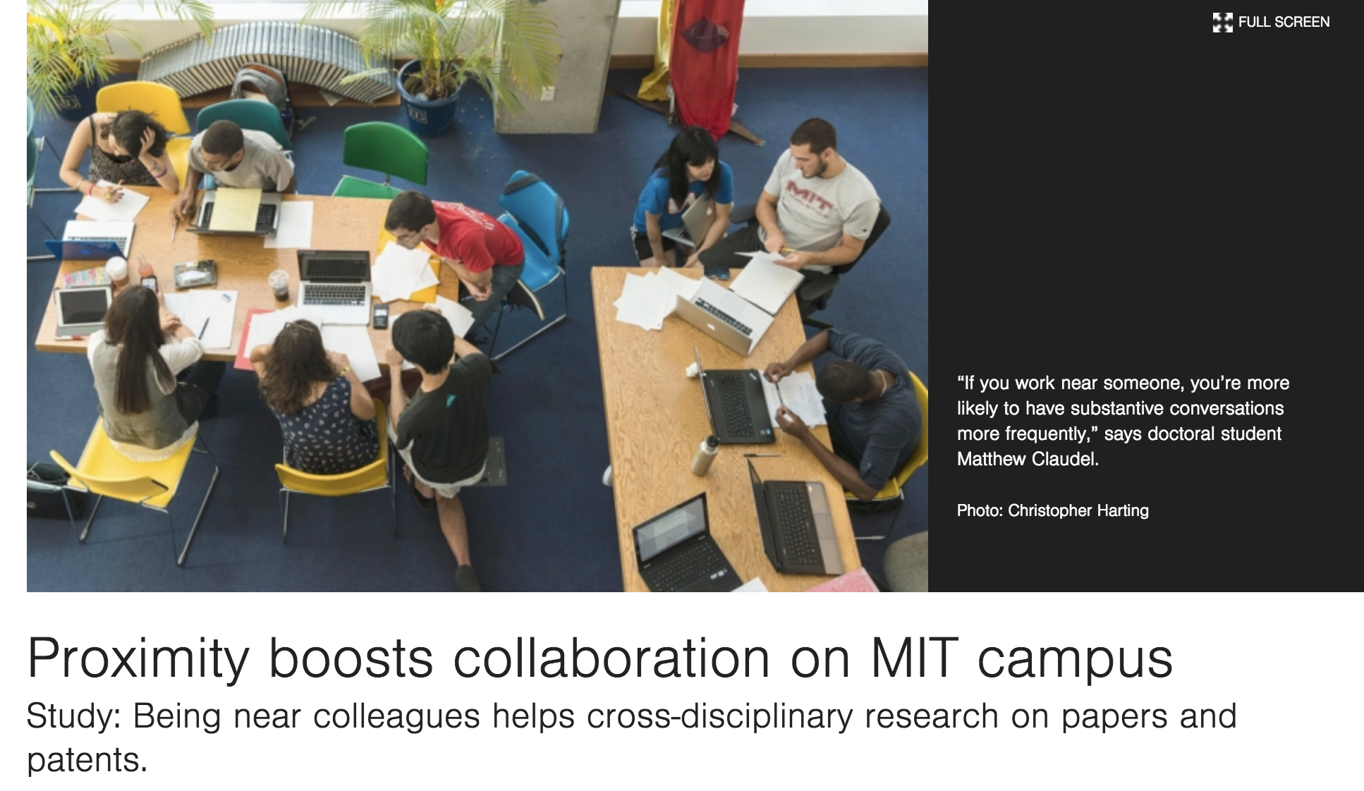 Further Reading: Proximity boosts collaboration on MIT campus