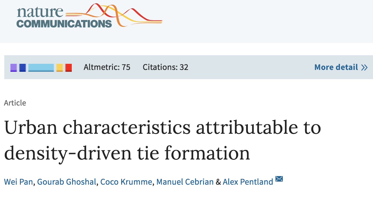 Further Reading:  Urban Characteristics Attributable to Density-driven Tie Formation
