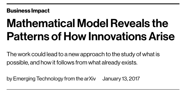 Further Reading:  Business Impact Mathematical Model Reveals the Patterns of How Innovations Arise
