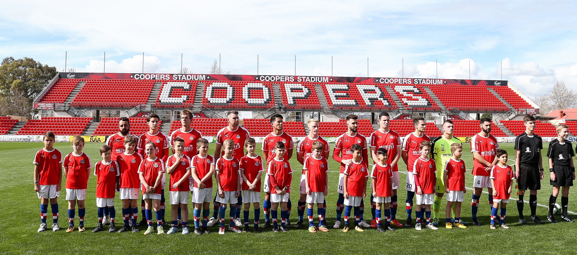 Adelaide Croatia Juniors with the Seniors squad at Coopers Stadium - NPL SA State League 1 Grand Final 2018 - Champions!