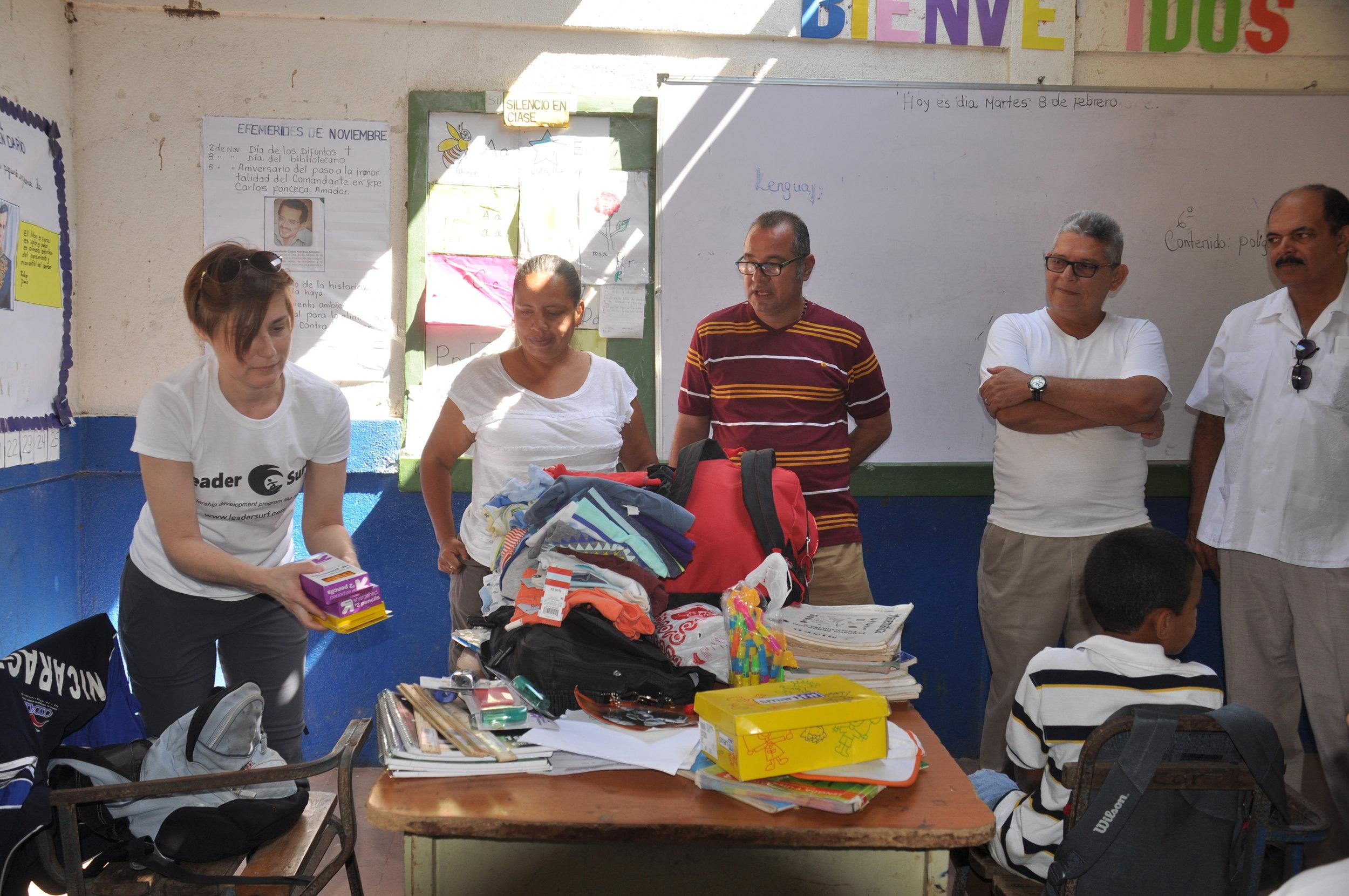 Donating school supplies
