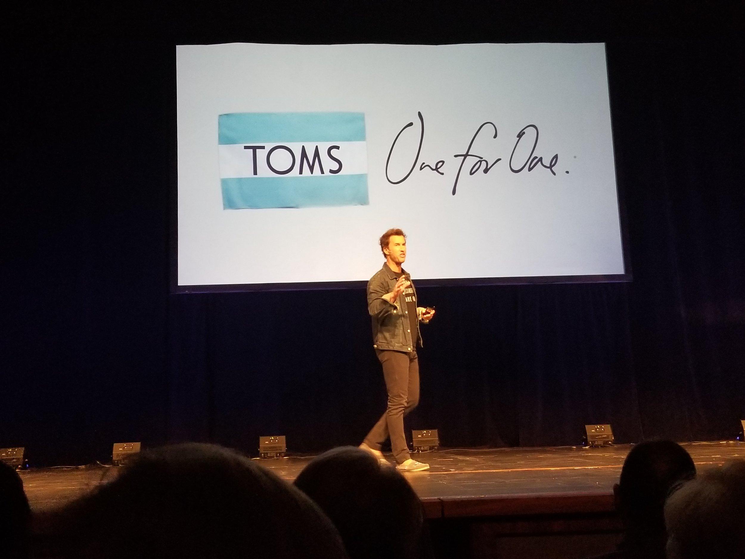 Blake Mycoskie speaking in Charlotte, NC