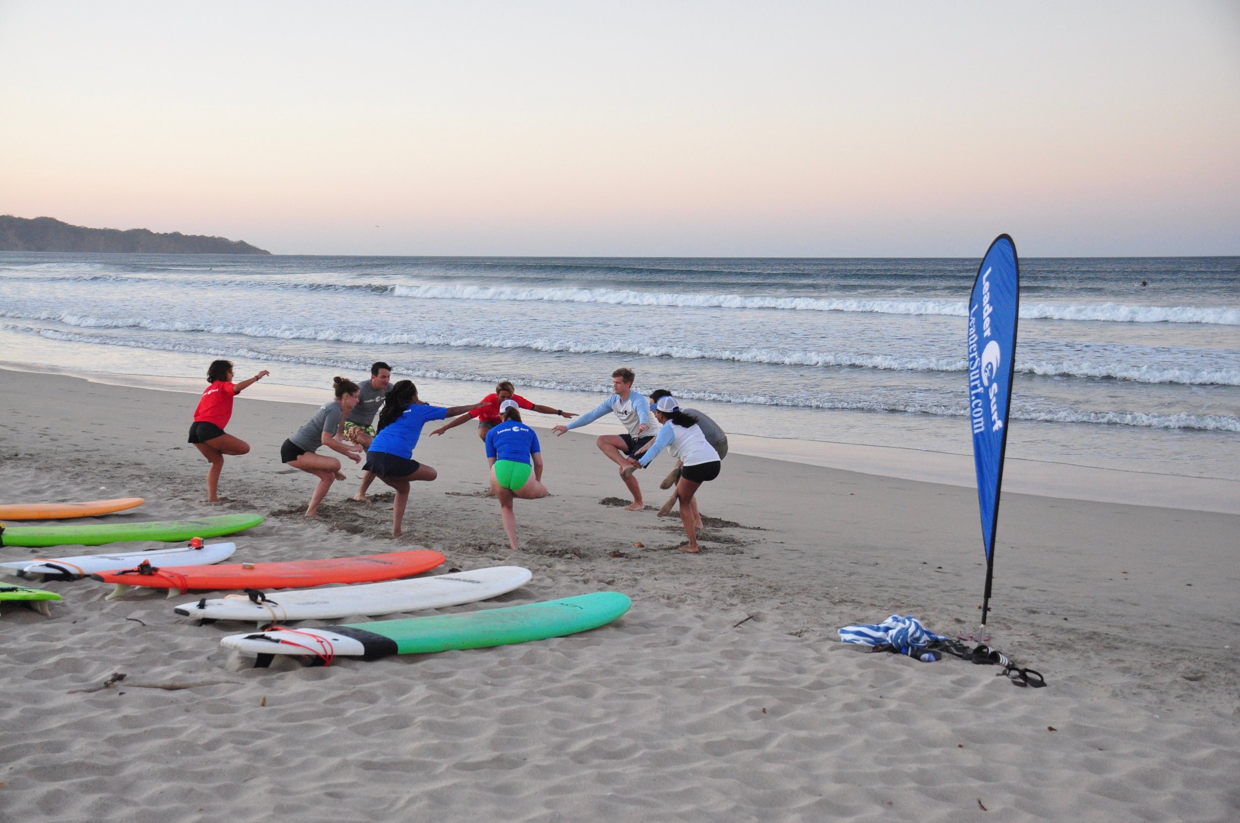 Morning stretch before surf session