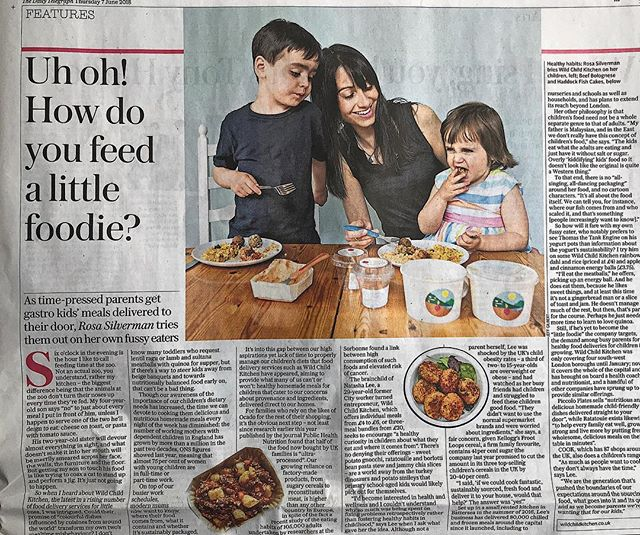 Foodie Feature 🗞Who spotted us in the @telegraph today? We were thrilled to read Rosa Silverman's article on the rise of children's food delivery companies with @wildchildkitchen leading the charge! Page 23 if you want to take a read! 🙌🏻