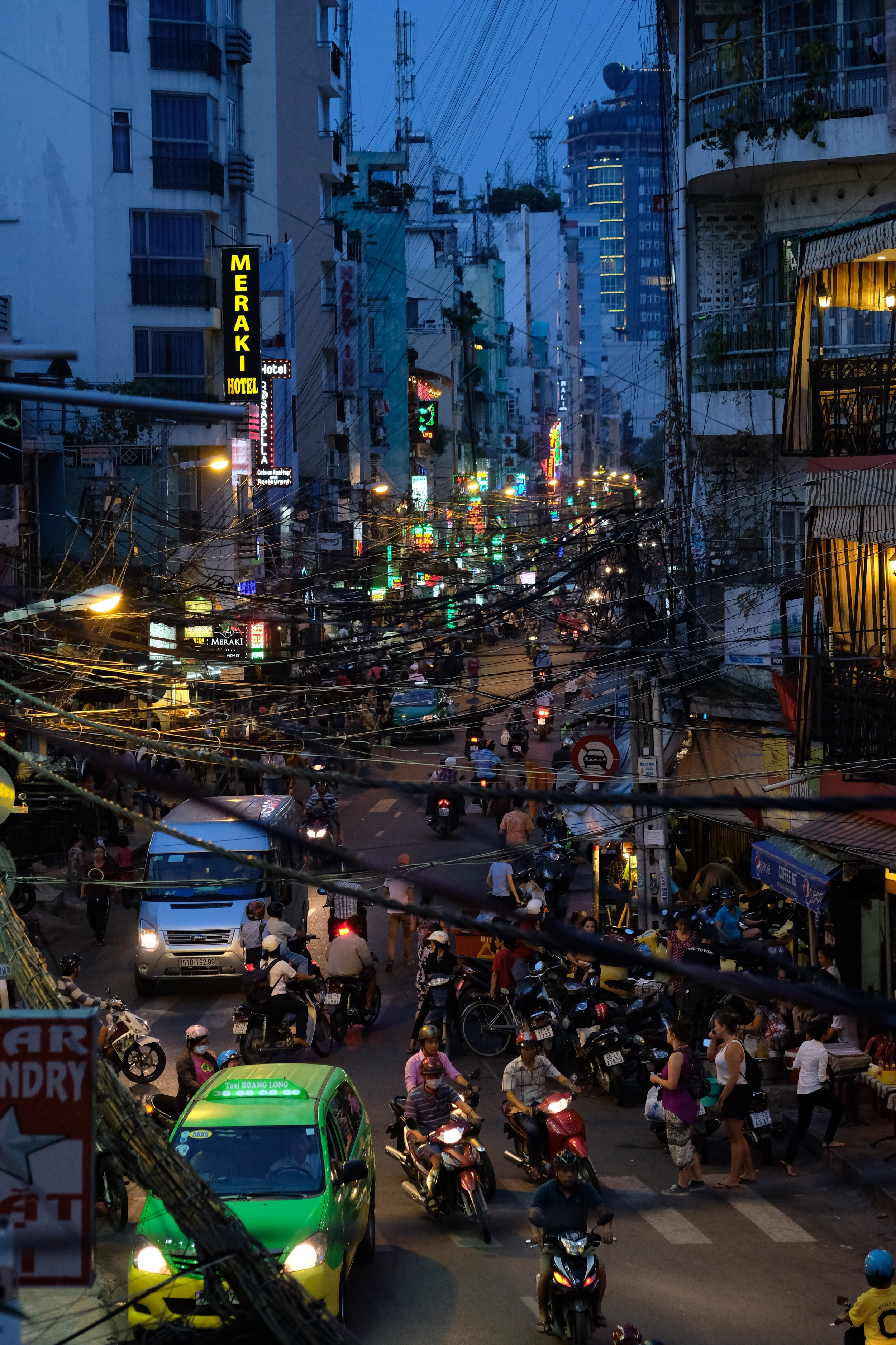 Bui Vien street at night - a bit after the worst rush hour.