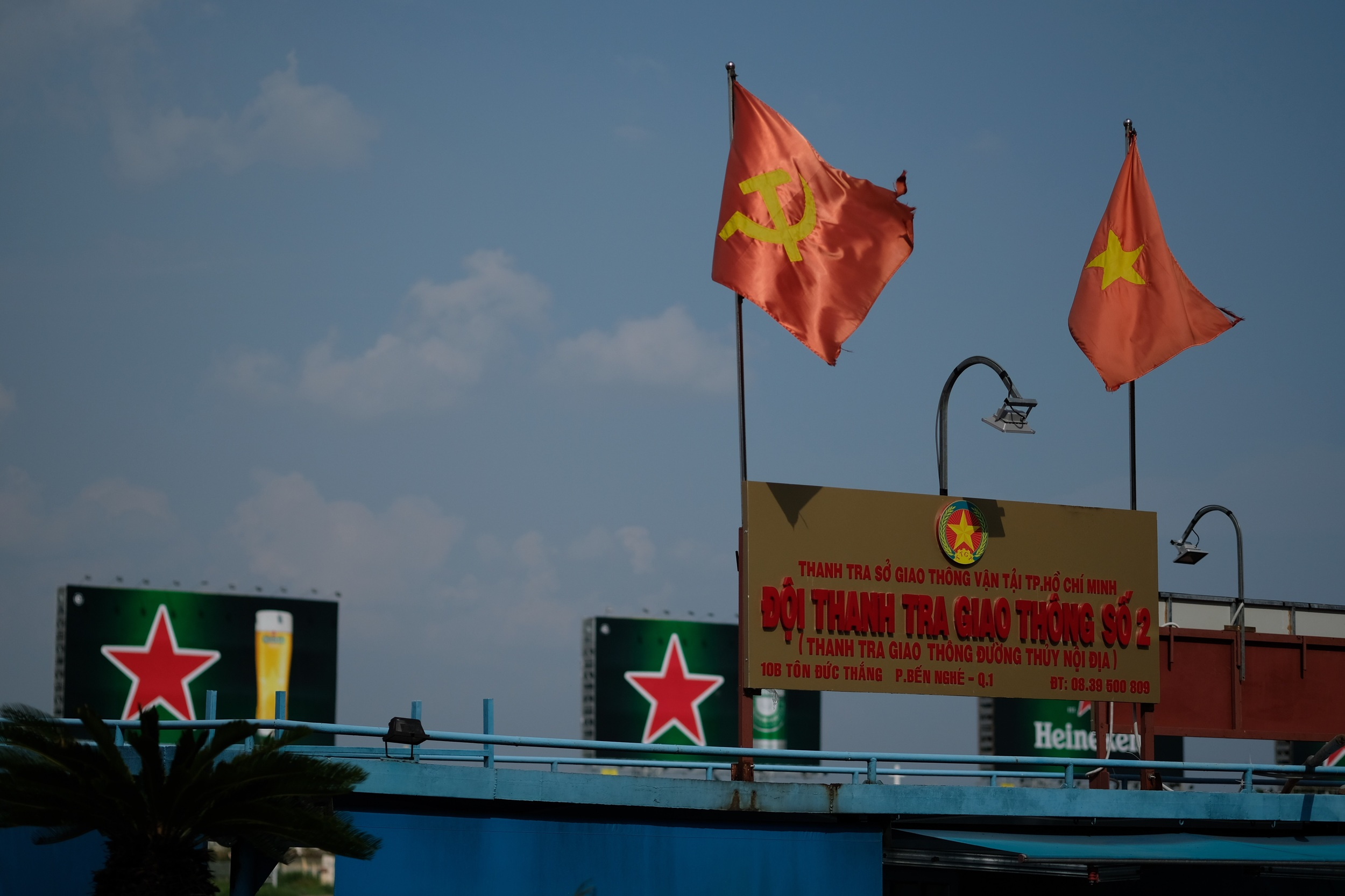 Stars on flags, stars on billboards - an odd mix of capitalist and socialist propaganda is present all over the city.