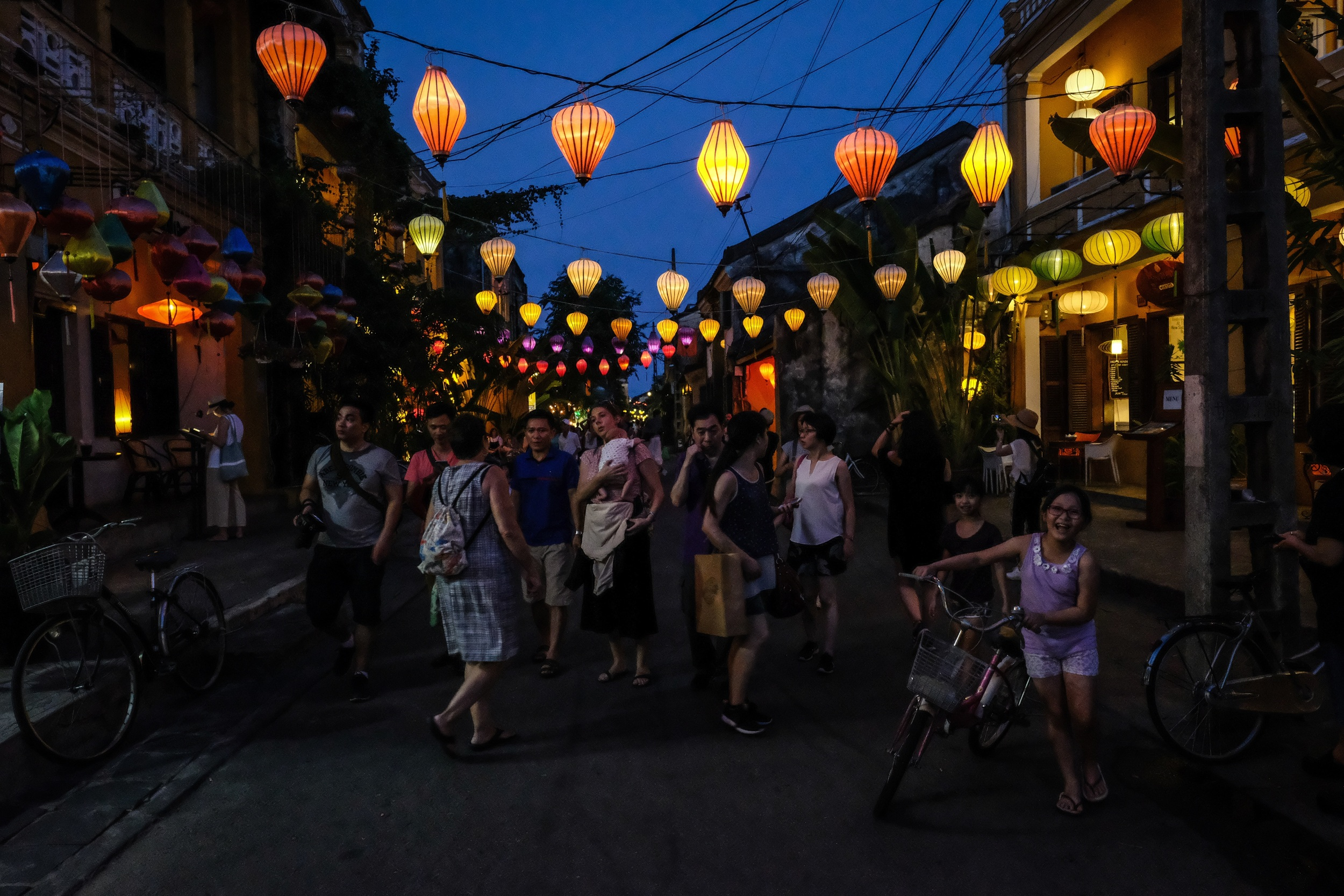 The streets of Ancient Town are charmingly lit. Lanterns wherever possible.