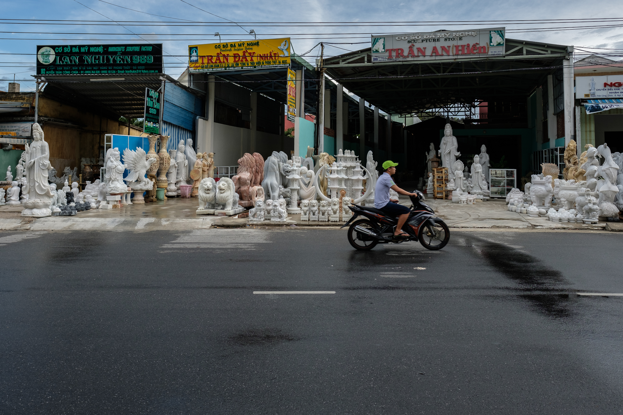 The Marble Mountains area near Danang is famous for stone sculpture and stone cutting crafts, there is a myriad of workshops and shops along the roads.
