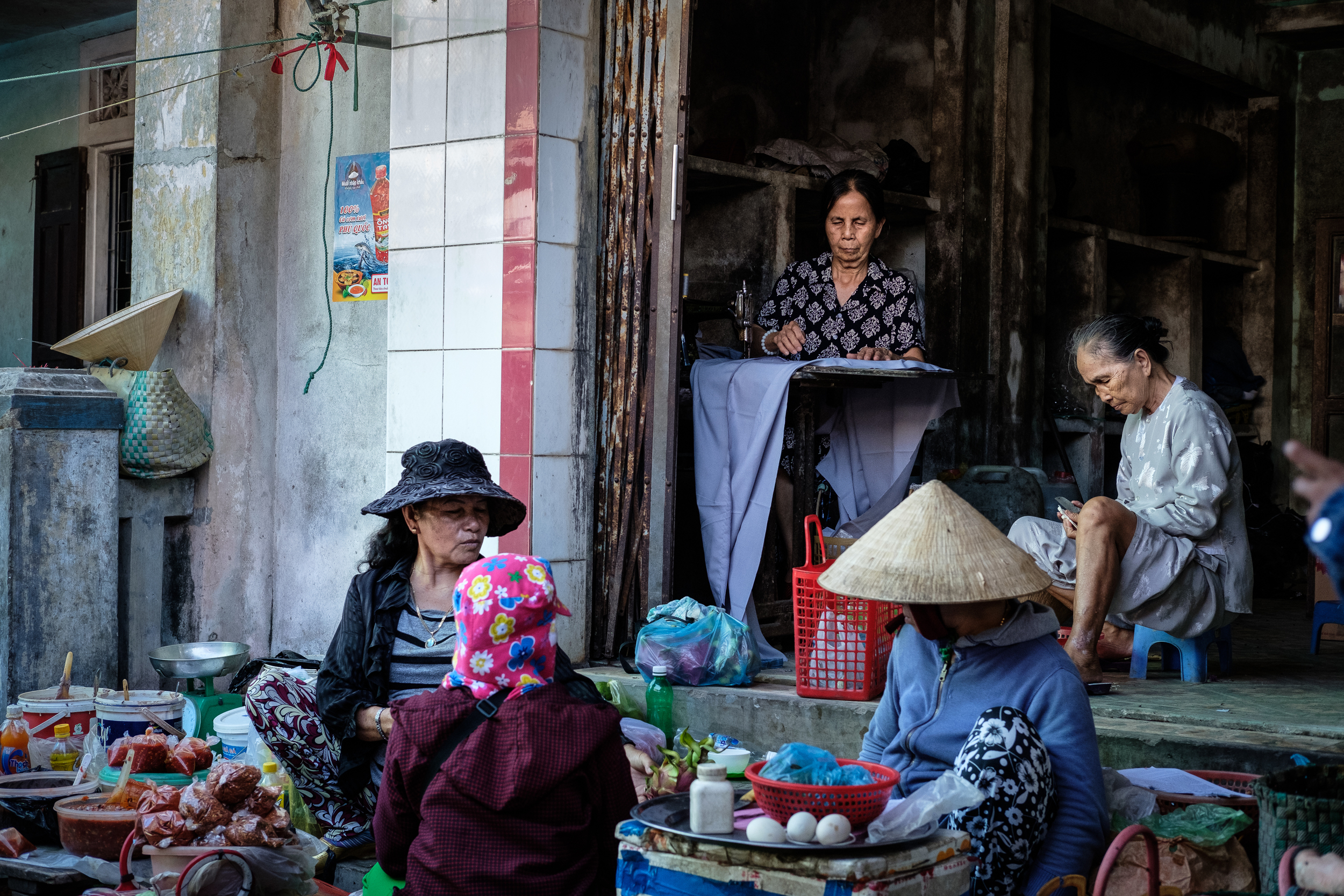 The markets are where most people get their clothes and food, rather than in shops.