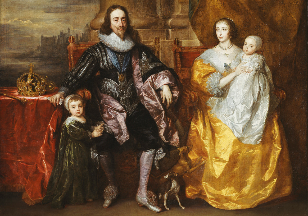 Sir Anthony van Dyck, Charles I and Henrietta Maria with their two eldest children, Prince Charles and Princess Mary (detail) , 1631-32, 303.8 x 256.5 cm, oil on canvas. Royal Collection Trust/© Her Majesty Queen Elizabeth II 2017. Image Source:royalacademy.org.uk
